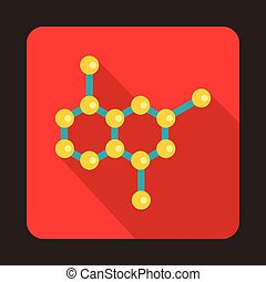 Crystal lattice icon in flat style