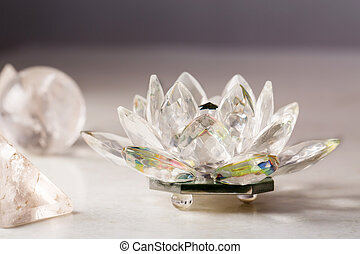 Crystal lotus flower, ball and pyramid.