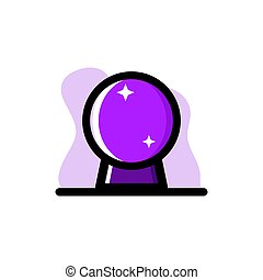 Crystal Magic Ball Conceptual Vector Icon Illustration Design