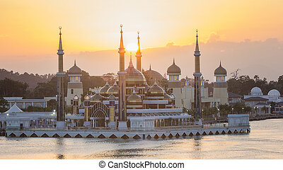 Crystal mosque with morning sunrise in Kuala Terengganu