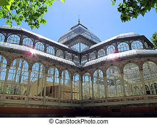 Crystal Palace El Retiro in Madrid Spain - View of crystal...
