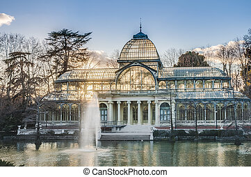 Crystal Palace on Retiro Park in Madrid, Spain. - The...