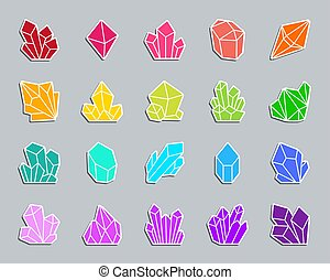 Crystal patch sticker icons vector set