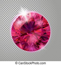 Crystal red pink ruby gem jewelry precious stone. Realistic 3d detailed vector illustration on transparent background