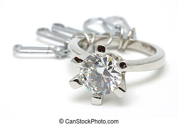 Crystal ring keychain