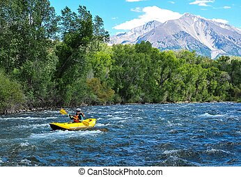 Crystal River Voyage - Diane paddling on the Crystal River...