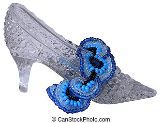 Crystal shoe and blue necklace - The crystal shoe and blue...