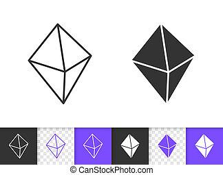 Crystal simple black line vector icon