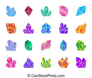 Crystal simple gradient icons vector set