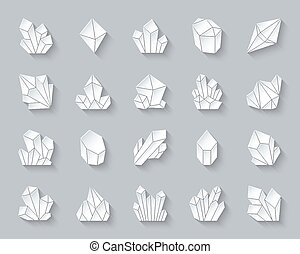 Crystal simple paper cut icons vector set