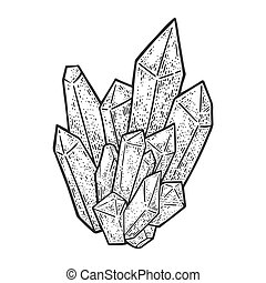 Crystal sketch engraving vector illustration. T-shirt apparel print design. Scratch board imitation. Black and white hand drawn image.