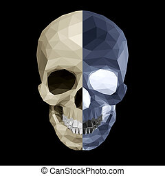 Crystal skull in two colors - Crystal skull on black...