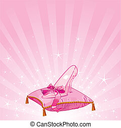 Crystal Cinderella%u2019s slipper on pink pillow background