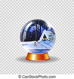 crystal snow globe of winter snowy night landscape with little house and cute snowmen clip art
