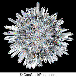 Crystal sphere with acute columns over black background. ...
