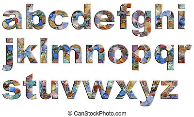 A - Z alphabet with a polished tumbled stones theme in capital letters on a white background