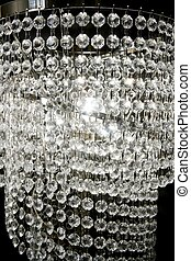 crystal strass lamp white over black background luxury...
