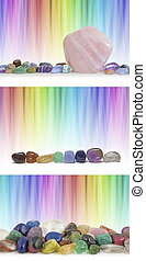 Graduated blended rainbow linear backgrounds with three different Crystal settings and plenty of copy space