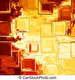 crystal tile pattern texture background - fiery yellow, red and orange colored