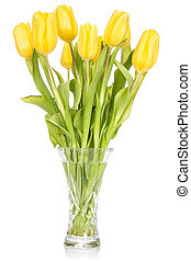 Crystal vase with yellow tulips