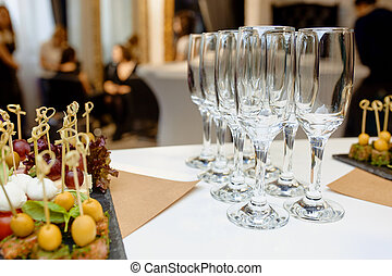 Crystal wine glasses on the table