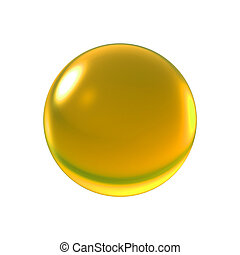 crystal yellow ball - Transparent glass ball on background...
