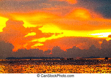 crystalize flame cloud sunset on sea ray colorful sky