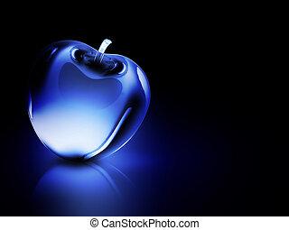 crystalline blue apple on a dark background