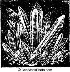 Old engraved illustration of Crystallized Quartz. Dictionary of words and things - Larive and Fleury ? 1895