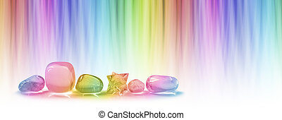 Crystals and color healing banner - A row of five tumbled...