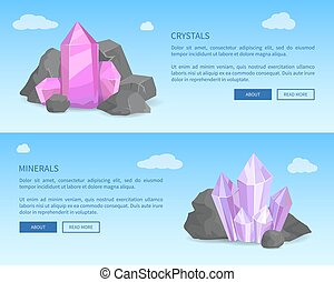 Crystals and Minerals Among Grey Stones Realistic
