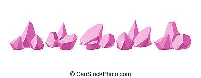 Crystals broken into pieces. Big set of smashed ruby crystals. Broken gemstones or pink rocks. Vector illustration
