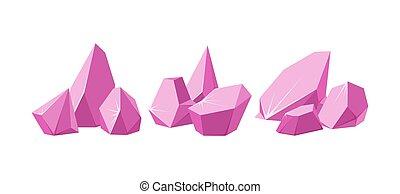 Crystals broken into pieces. Set of smashed pink crystals. Broken gemstones or pink rocks. Vector illustration