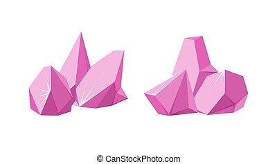 Crystals broken into pieces. Set of smashed ruby crystals. Broken gemstones or pink rocks. Vector illustration