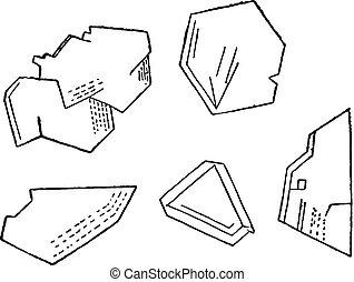 Crystals carborundum, vintage engraving. - Crystals...