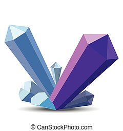 Crystals in flat style on white background