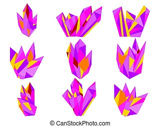 Crystals isolated on white background. Minerals, design elements. Shades of purple. Vector illustration