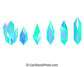 Crystals isolated on white background. Minerals, design elements. Vector illustration