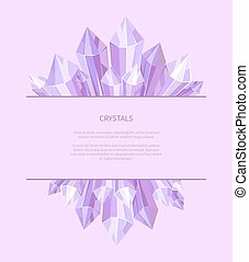 Crystals of Purple Color, Vector Illustration