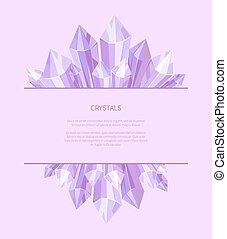 Crystals of Purple Color, Vector Illustration