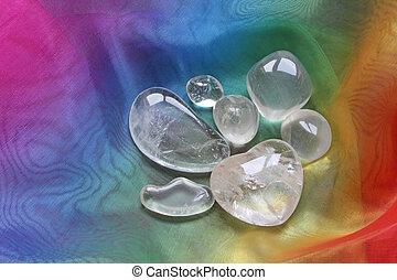 Crystals on rainbow chiffon