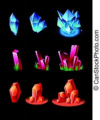 Crystals - realistic vector set of minerals