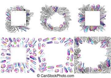 Crystals seamless patterns set vector