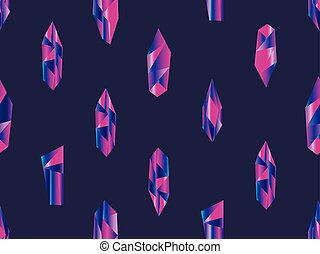 Crystals with violet gradient seamless pattern. Minerals, design elements. Vector illustration
