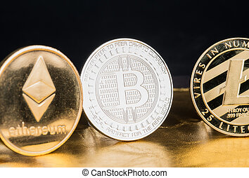 cryto, numérique, argent., ethereum, litecoin, cryptocurrency, virtuel, rugueux, doré, argent, bitcoin, currencies., fond