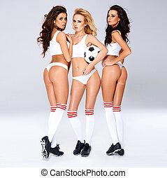 csábító, szexi, női, futball játékos