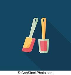cséplőmunkás, árnyék, konyhai felszerelés, ikon, eps10, ...