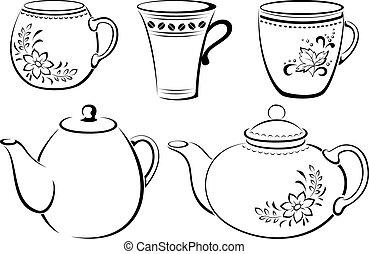 csészék, teapots, pictograms