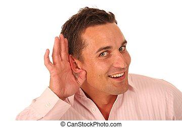 csésze alakú, fül, ember, kéz