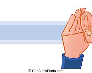csésze alakú, fül, kéz